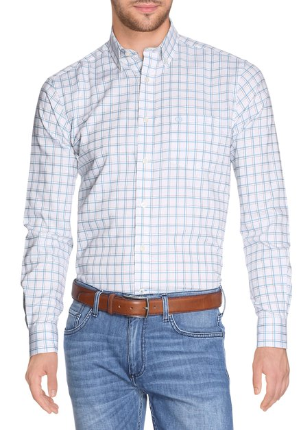 Wit hemd met groene ruiten - regular fit