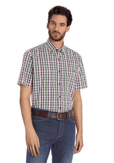 Wit hemd met kleurrijke ruitjes – regular fit