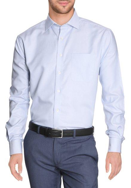 Wit hemd met lichtblauwe miniprint - comfort fit