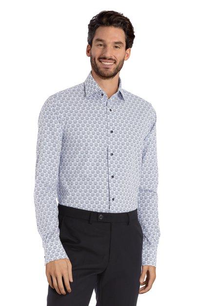 Wit hemd met lichtblauwe pauwen - slim fit