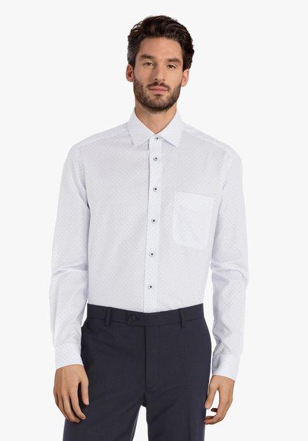 Wit hemd met navy miniprint - comfort fit