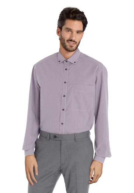 Wit hemd met paarse ruiten - comfort fit