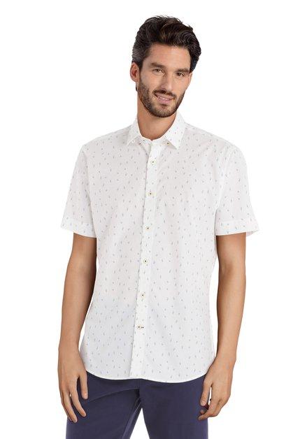Wit hemd met papegaai motief - slender fit