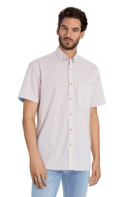 Wit hemd met rode miniprint – regular fit