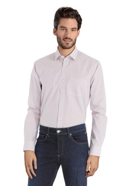 Wit hemd met rood-blauwe stippen – regular fit