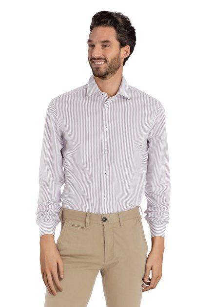 Wit hemd met rood-blauwe strepen - slim fit