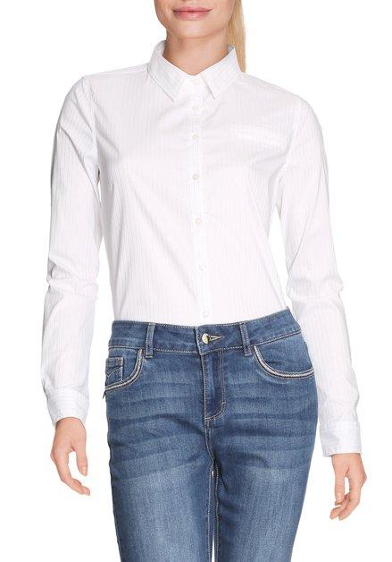 Wit hemd met zilverkleurige lurexstrepen
