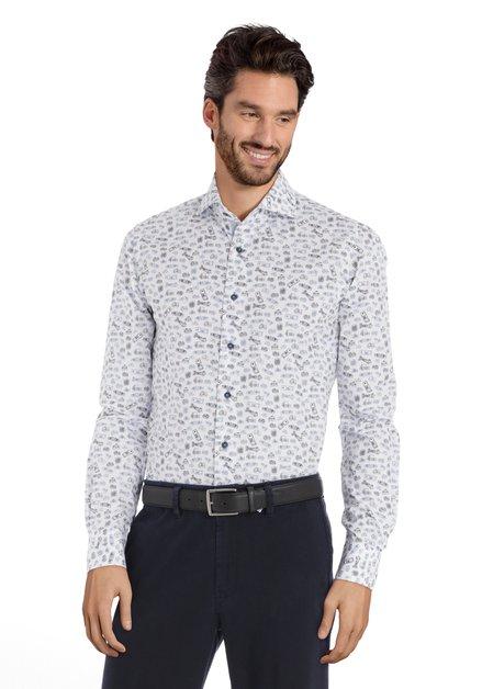 Wit hemd met zwart-blauwe print - slim fit