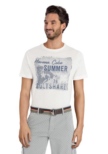 """Wit T-shirt met blauwe print """"Havana, Cuba"""""""