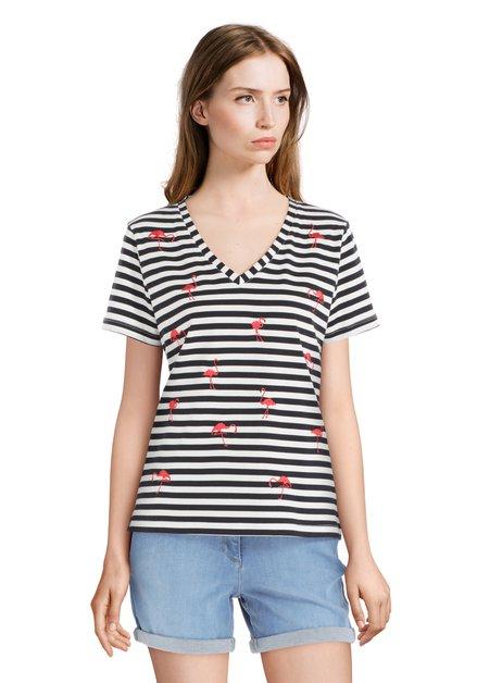 Wit T-shirt met blauwe strepen en flamingo's