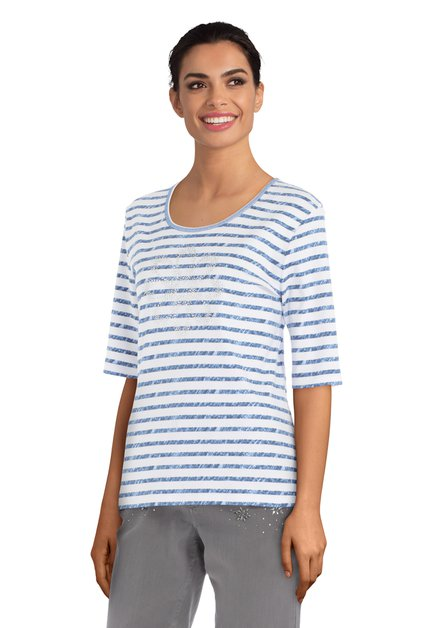 Wit T-shirt met blauwe strepen en strass