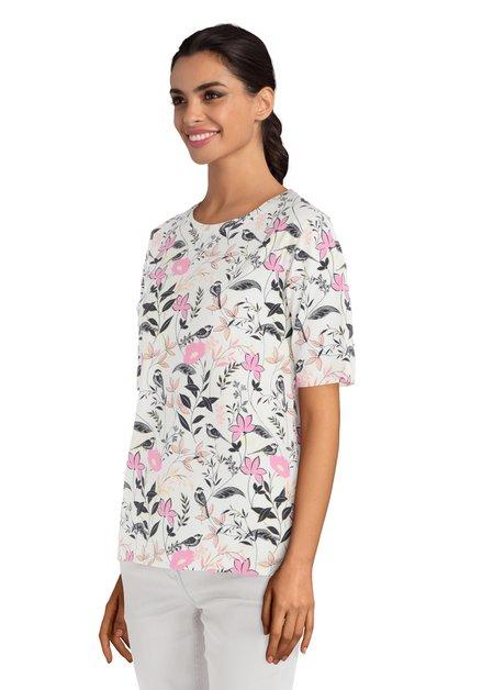 Wit T-shirt met bloemen en vogels