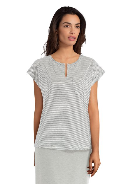 Wit T-shirt met donkerblauwe streepjes