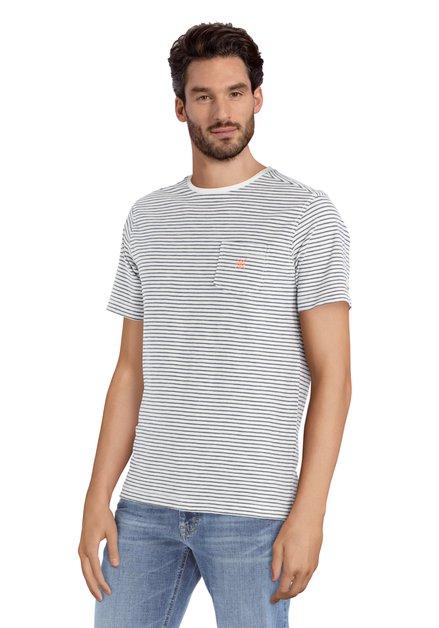 Wit T-shirt met donkerblauwe strepen