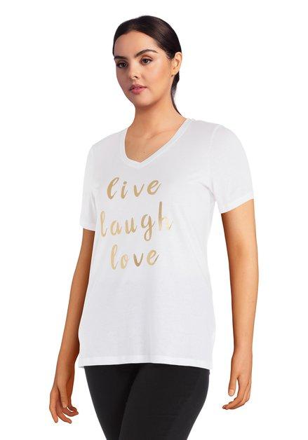 Wit T-shirt met goudkleurig opschrift