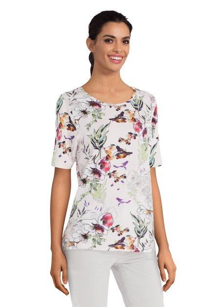 Wit T-shirt met kleurrijke bloemen