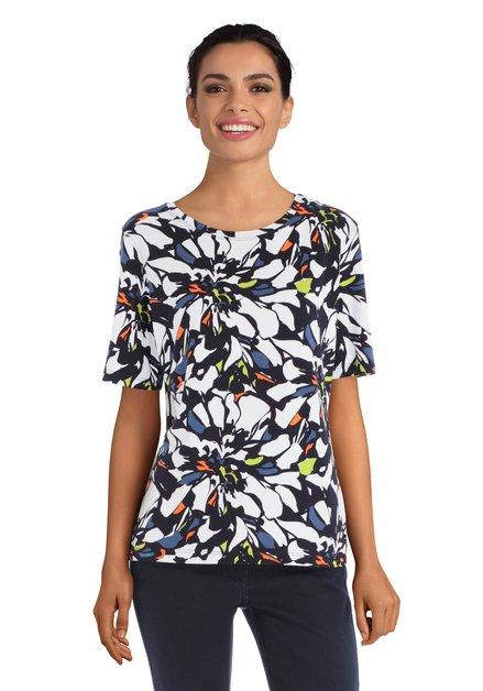 Wit T-shirt met kleurrijke bloemen en ronde hals