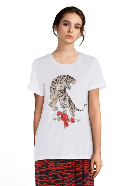 Wit T-shirt met panter en roos