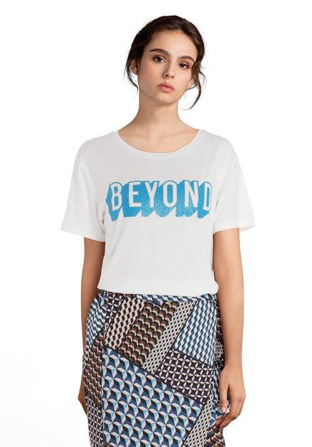 Wit T-shirt met pblauwe glitterprint