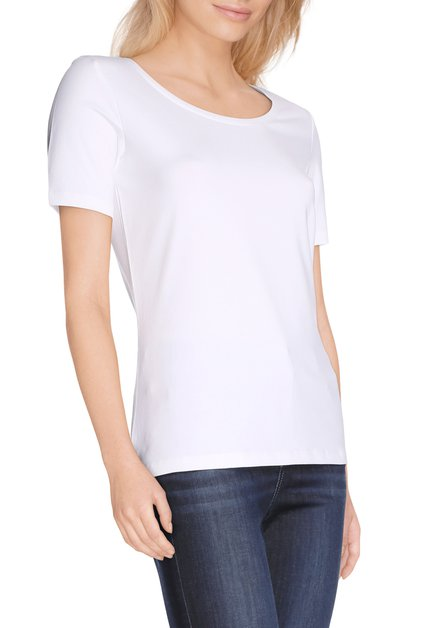 Wit T-shirt met ronde hals in jersey