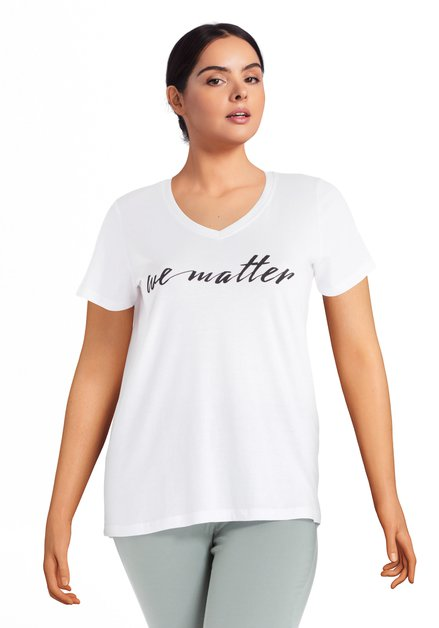 "Wit T-shirt met tekst ""we matter"""