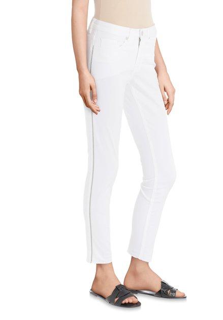 Witte 7/8 jeans met glitterstreep – slim fit