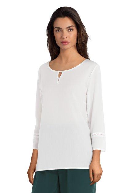 Witte blouse in crêpestof