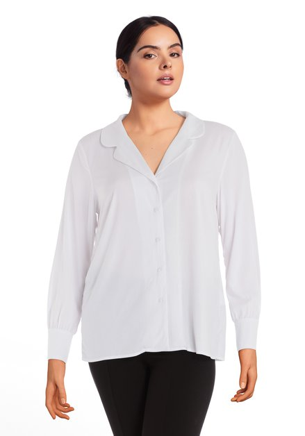 Witte blouse in viscose retro