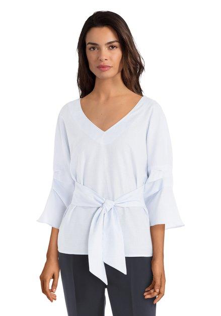 Witte blouse met blauwe miniprint en strik