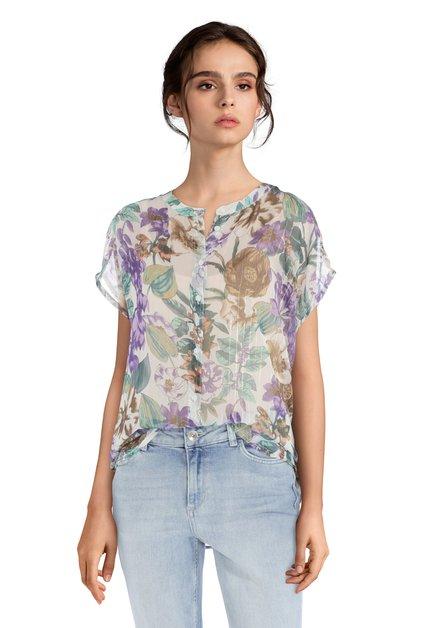 Witte blouse met bloemenprint en lurex