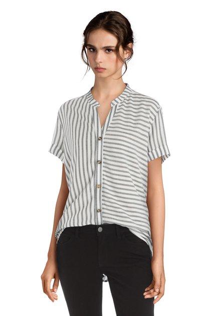 Witte blouse met grijze strepen