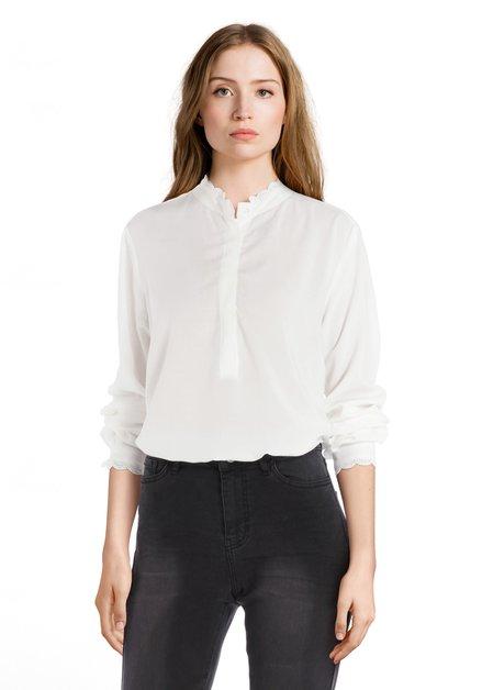 Witte blouse met kanten kraagje