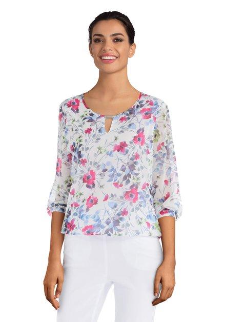 Witte blouse met kleurrijke bloemenprint