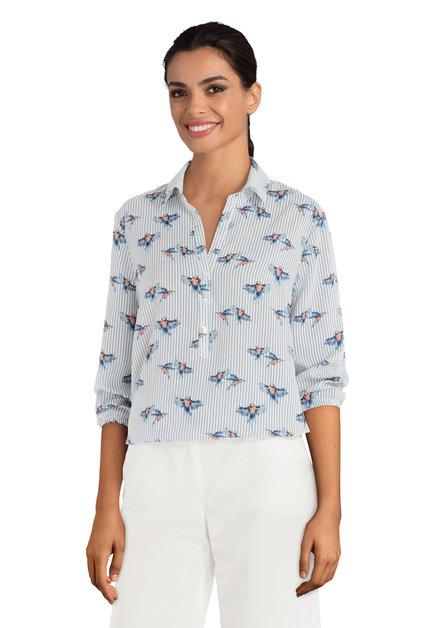 Witte blouse met streepjes en vogels