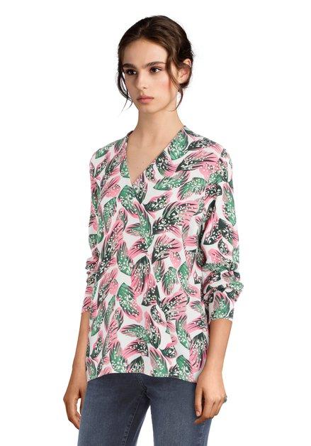 Witte blouse met tropisch motief
