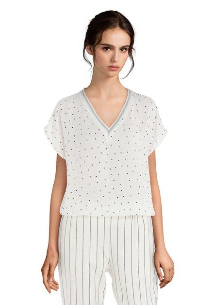 Witte blouse met zwarte stippen en lurex