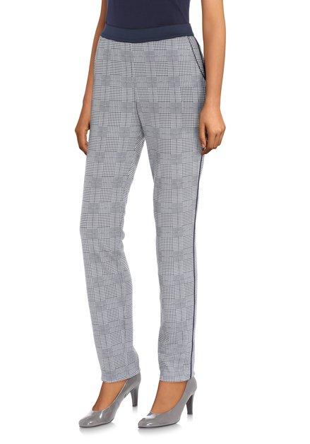 Witte broek met donkerblauwe miniprint - slim fit