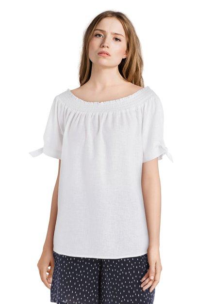 Witte off shoulder blouse met linnen