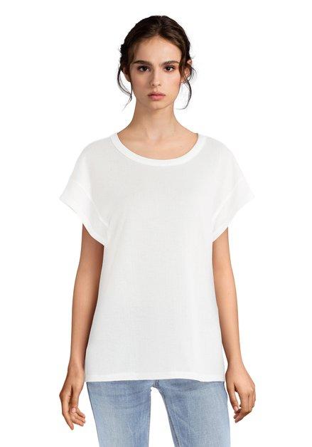 Witte oversized T-shirt met structuurstof