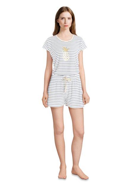 Witte pyjama met blauwe streepjes en ananas