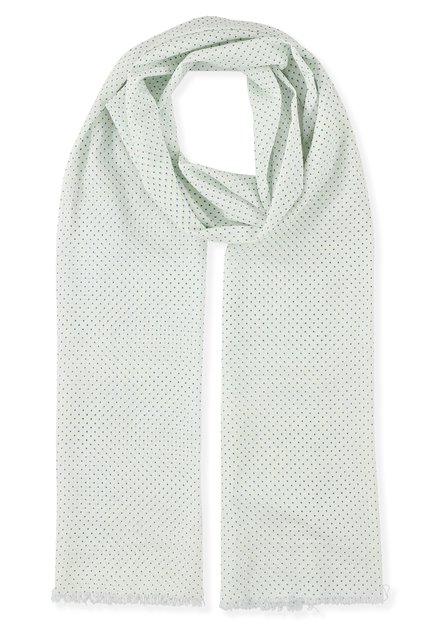 Witte sjaal met blauwe ministipjes