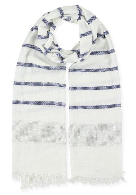 Witte sjaal met blauwe strepen en lurex