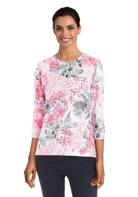 Witte T-shirt met roos en grijs bloemenmotief