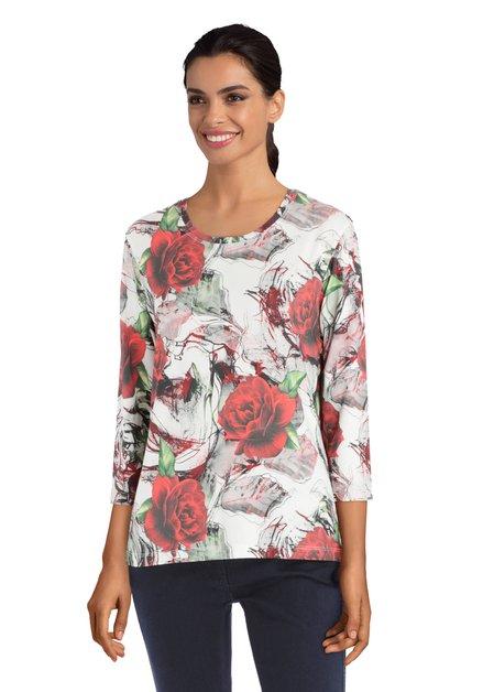 Witte T-shirt met rozen