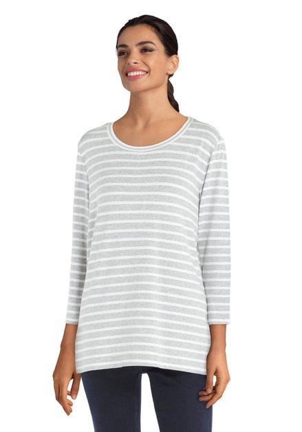 Witte T-shirt met strepen en lurex