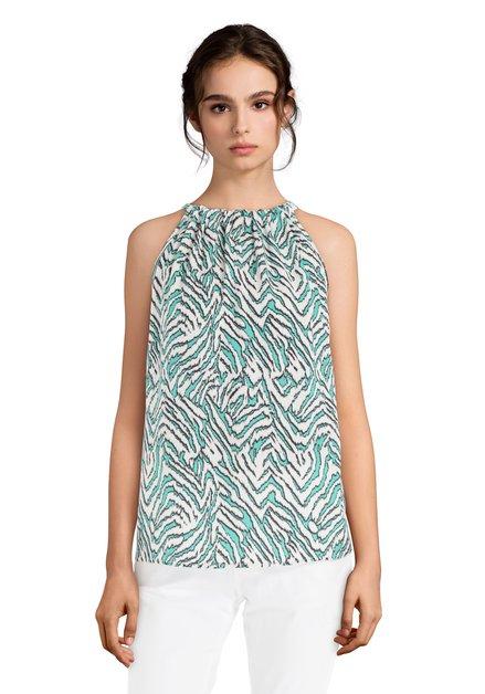 Witte top met turquoise print