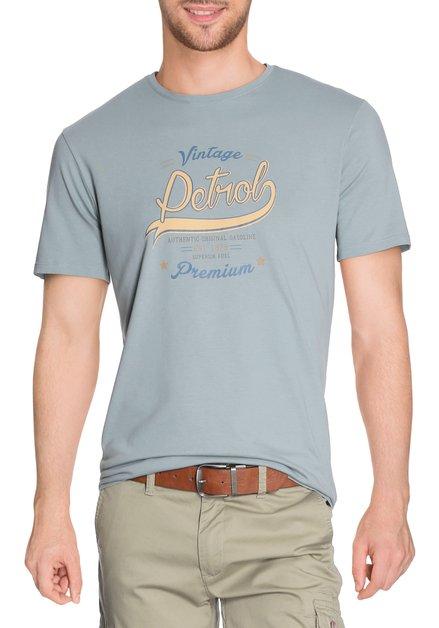 Zachtgroen T-shirt met print en ronde hals