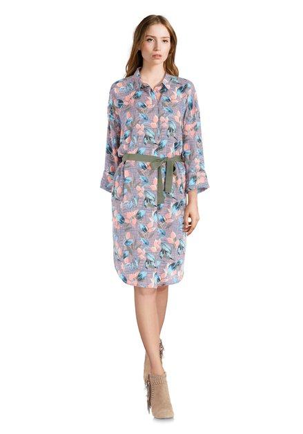 Zalmroze kleed met blauwe print