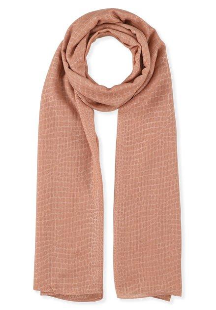 Zalmroze sjaal met toon-op-toon print