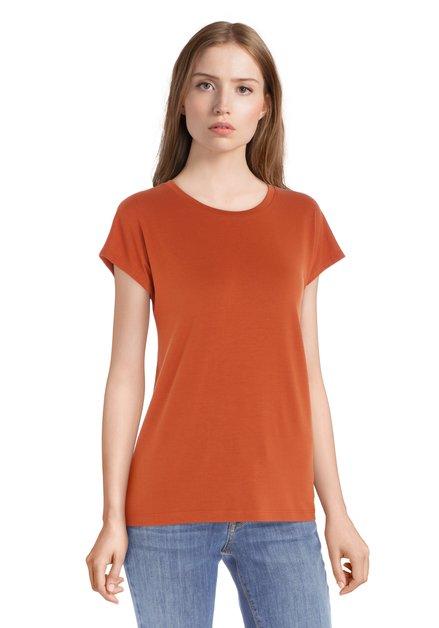 Zandbruin T-shirt met ronde hals in modal